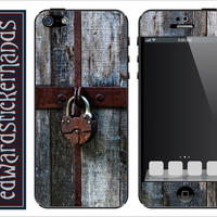 Antique Lock and Painted Wood iPhone Skin