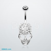 Cross Gem Paved Hardcore Skull Belly Button Ring