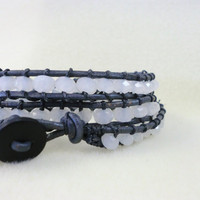 UNISEX Opal bead with Dark Grey Leather wrapping bracelet by StarBurstJewels