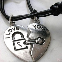 key and lock couple's necklace