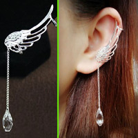 Angel's Wing Dangling Rhinestone Ear Cuffs (No Piercing)