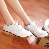 Macarons Color Vintage Flat PU Leather Shoes 022619