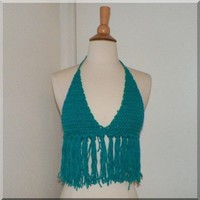 Teal Blue Crochet Halter Hippie Tank Half Top Shirt Bikini Handmade | fairytaledesigns - Clothing on ArtFire