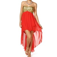 Liaza- Coral/Gold Hi Lo Prom Dress