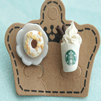 donut and starbucks coffee earrings