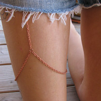 Delicate copper leg chain thigh chain by houseofmarissanicole