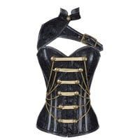 Black Satin Military Corset with Chain and PVC Detail