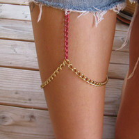 PINK and GOLD leg chain thigh chain Great by houseofmarissanicole