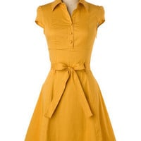 ModCloth Vintage Inspired Mid-length Cap Sleeves A-line Soda Fountain Dress in Ginger