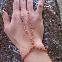 Copper hand chain ring bracelet by houseofmarissanicole on Etsy