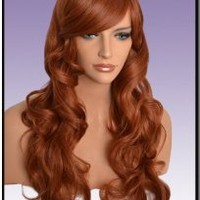 Hollywood_hair4u - Extra Long Curly #130 Copper Red Wig Kanekalon Heat Resistant Synthetic Fiber Wig with Skin Top *NEW*