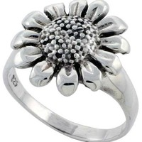 Sterling Silver Large Sunflower Ring 5/8 inch wide, sizes 6 - 10