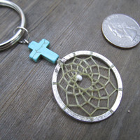 Turquoise Cross Dream Catcher Keychain