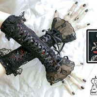 gothic goth gloves arm warmers fingerless cuff by 666Tristania666