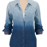Ombre Button Down Denim Shirt