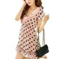 Allegra K Women Scalloped Hem Flower V Neck Dots Print Chiffon Mini Dress Pink XS
