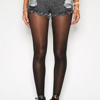 Bradley Mid-Rise Short in Black Acid Wash
