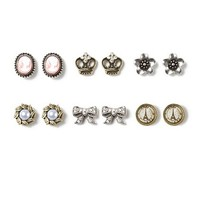 Crown Jewels and Paris Stud Earrings Set of 6 | Claire's