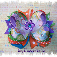 Stacked Boutique Hair Bow OTT Grosgrain Layered by MyFlowerZone