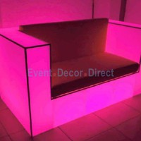 Hot Pink Lighted 2 Person Sofa - Waterproof, Rechargeable -