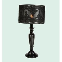 Bethel International SM13 1-Light Black Lace Pattern Shade Table Lamp
