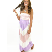 Eastern Sunrise Pastel Purple & Pink Maxi Dress