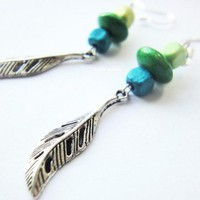Turquoise Green Wooden Beads Antique Silver Leaves Earrings Sand | LittleApples - Jewelry on ArtFire