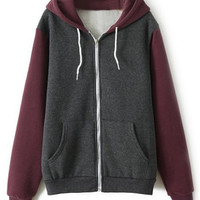ROMWE Color Block Zippered Red Hoodie