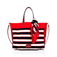 Valentino - Reversible Striped Tote with Scarf Tie