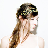Studded Headband in Gold and Black by thiefandbandit on Etsy