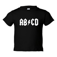 ABCD Funny Printed Preschool Kids Toddlers Infants AC DC Parody T Shirt for Kids Children Great Funny Printed Rocker T shirt