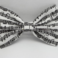 Musical Notes Hair Bow Clip Musical Notes Bow Music bow Black White Bow White Big Bows Black Fabric Bow School bow for teens Women adults