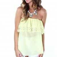 Yellow Ruffle Cutout Top