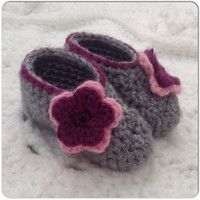 Baby Dress Shoes Booties Hand Crochet Shoes, MORE COLORS and Sizes Featuring Accent Trim & Flower, slip on baby shoes- Fashion Clothes Shoes
