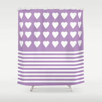 Heart Stripes Orchid Shower Curtain by Project M