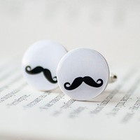 Mustaches cufflinks Free Worldwide Shipping Made by beautyspot