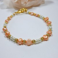 Peach and White Pearl Bracelet
