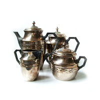 Vintage Art Deco Silver Plate Tea and Coffee Service .