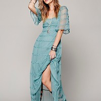 Free People Piped Flutter Sleeve Dress
