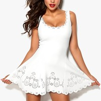 CUTOUT SCALLOP HEM DRESS