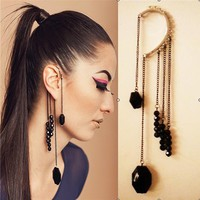 Punk Retro Black Gemstone Beads Tassels Ear Wraps Ear Cuffs Dangling Earrings, Birthday Gift