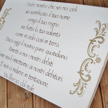 "Nursery Art, Gift ""The Lord's Prayer"" in Italian!  Handpainted sign."