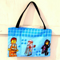 bag TOTE made with Licensed The LEGO Movie fabric Emmet Wyldstyle Lord Business purse
