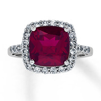 Lab-Created Ruby Ring Lab-Created Sapphires 10K White Gold