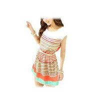 Allegra K Ladies Scoop Neck Sleeveless Elastic Waist Mini Dress Multicolor XS