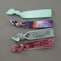 Elastic Hair Ties : Set of 4 Elastic Ribbon Hair Ties, Ponytail, Top Knot, Galaxy, Tie Dye, Glitter, Teal, Pink, Silver, Space, Berry, Teal