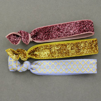 Elastic Hair Ties : Set of 3 Elastic Ribbon Hair Ties, Ponytail, Bun, Top Knot, Bracelet, Gold, Berry, Burgundy, Purple, Glitter, Metallic