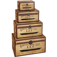Grand Star Line Transatlantic Wood Trunk (Set of 4)