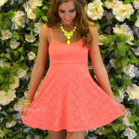 Oak Ridge Neon Orange Lace Babydoll Dress