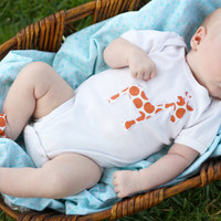 Giraffe Organic Bodysuit in Orange  with Matching Organic Shoes by GrowingUpWild